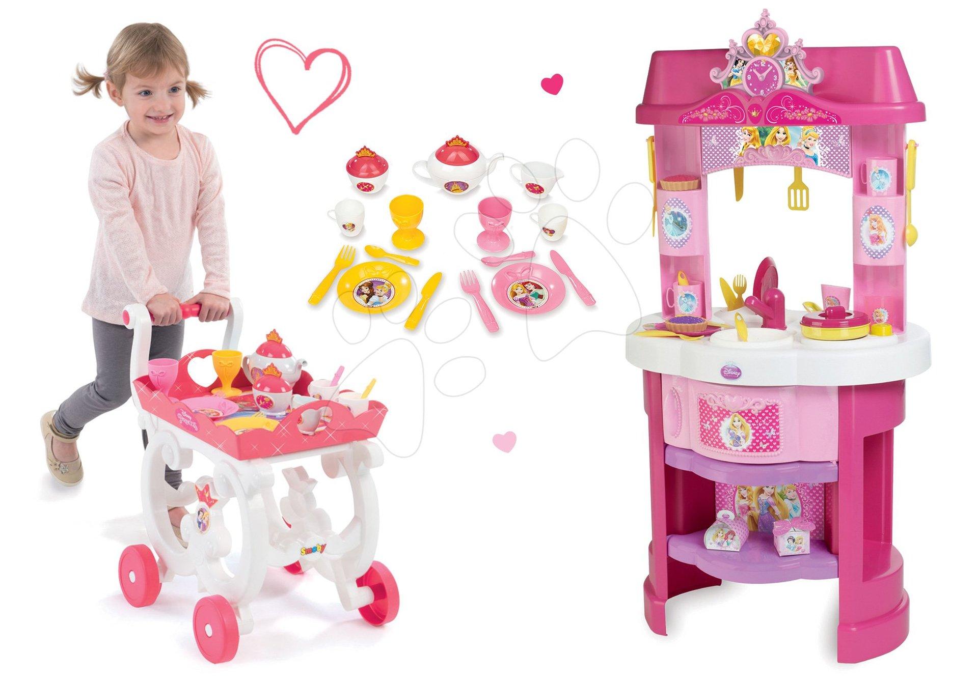 Set kuchynka Disney Princezné Smoby s hodinami a čajová súprava na vozíku