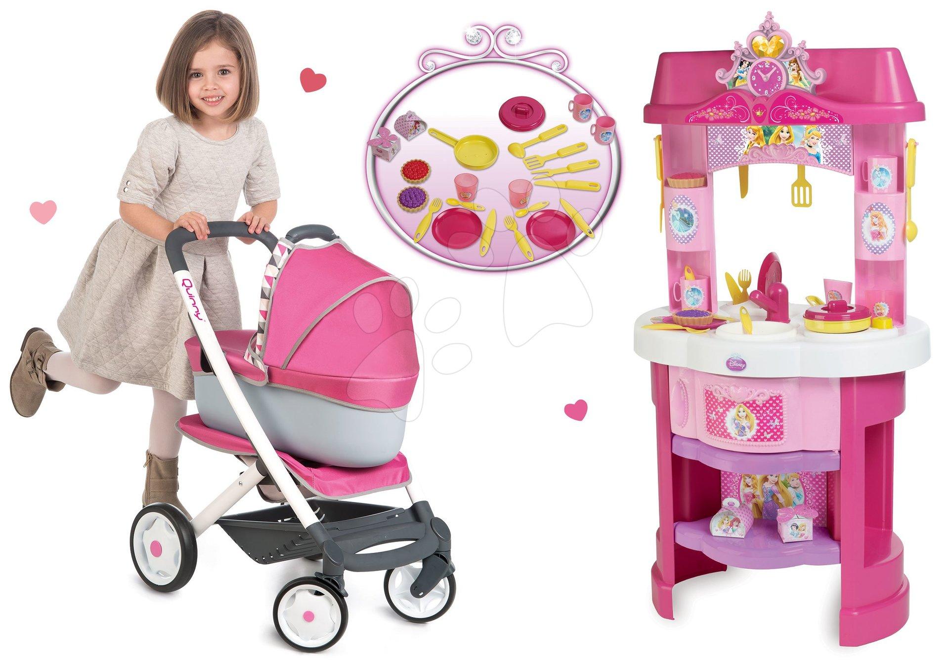 Smoby detská kuchynka Disney Princezné a kočiarik Maxi Cosi & Quinny 3v1 24023-3