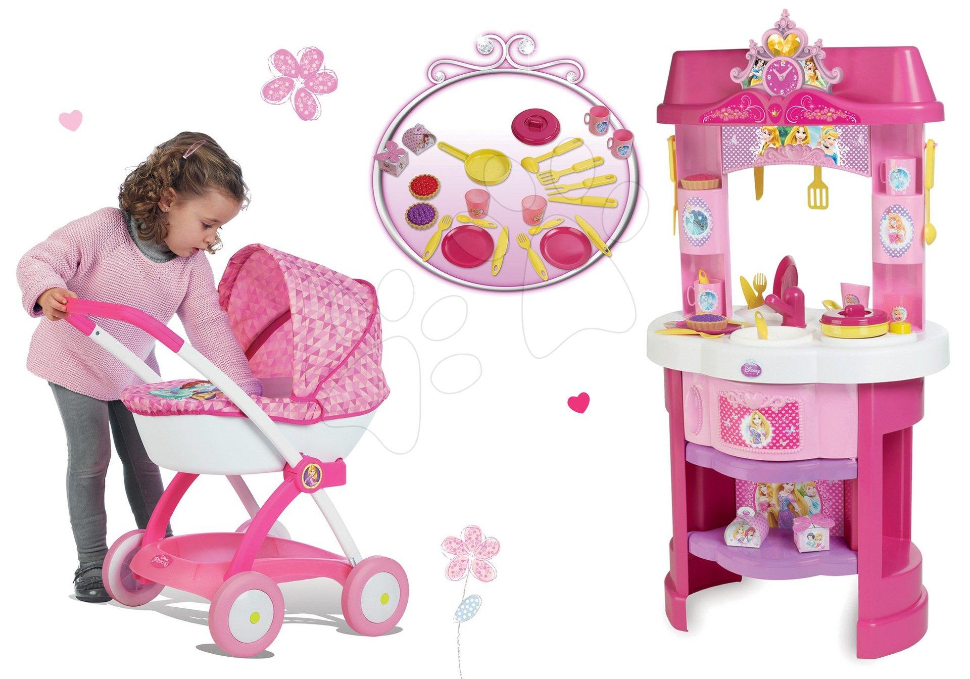 Set kuchynka Disney Princezné Smoby s hodinami a hlboký kočík pre bábiku ružový