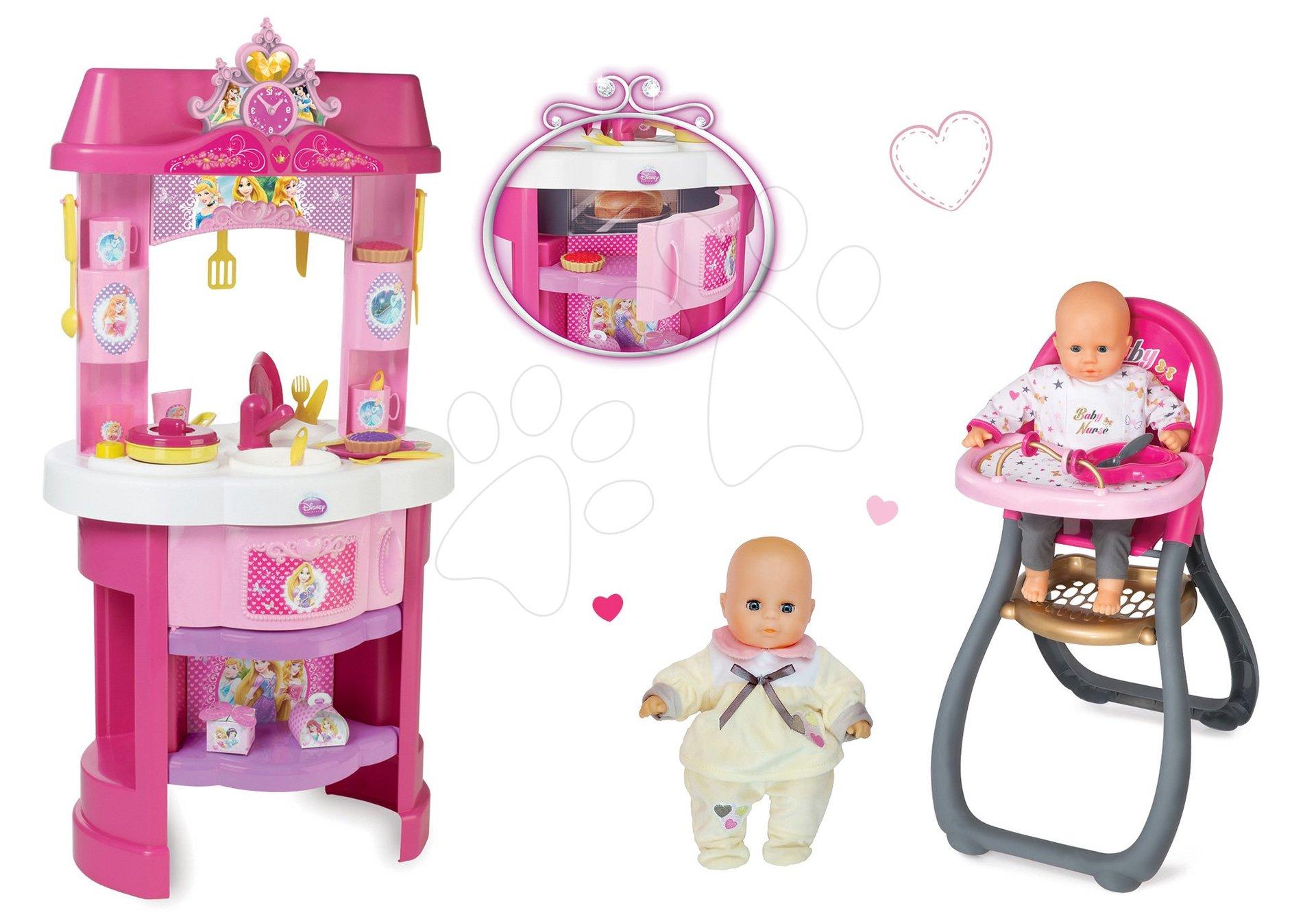 Set kuchynka Disney Princezné Smoby s hodinami a jedálenská stolička s bábikou