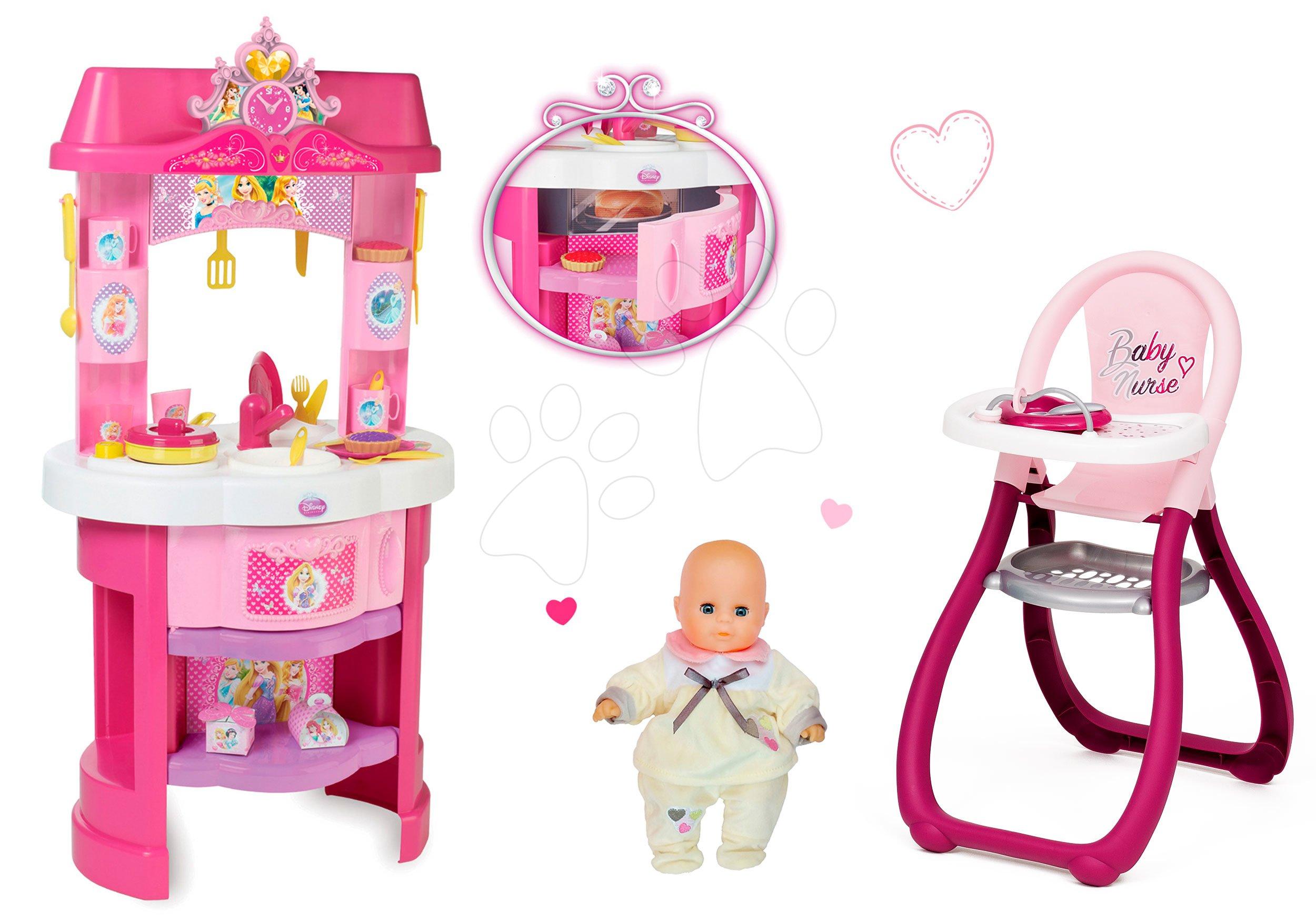 Kuhinje za djecu setovi - Set kuhinja Disney Princeze Smoby sa satom i sjedalicom za hranjenje s lutkom