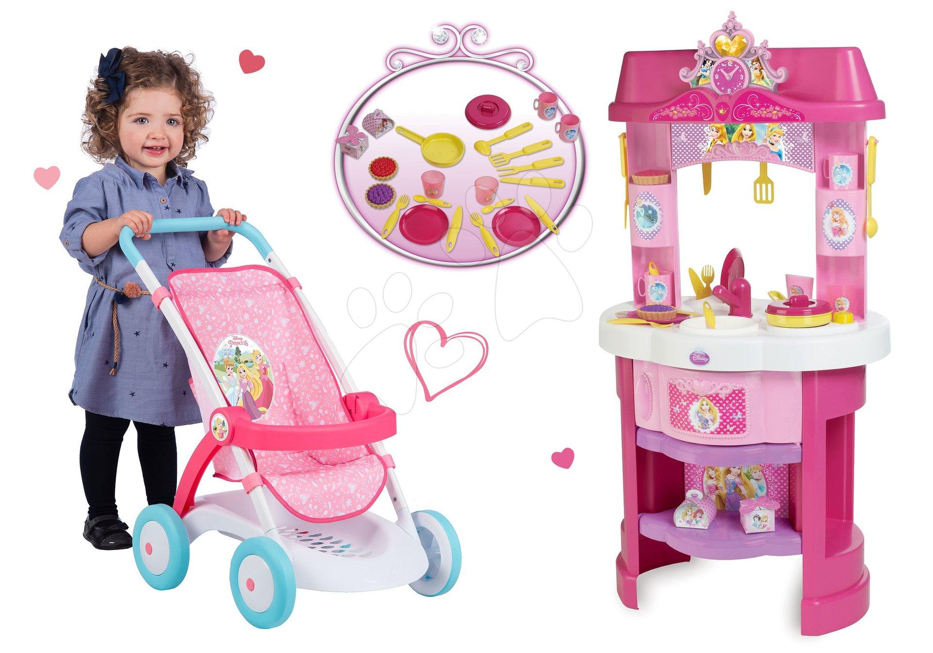 Set kuchynka Disney Princezné s hodinami a športový kočík pre bábiku Pastel