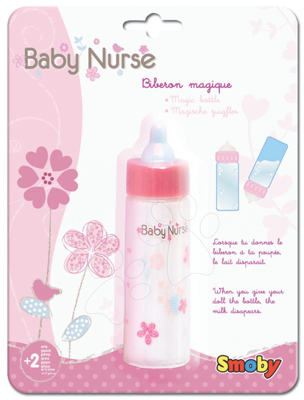 Doplnky pre bábiky - Fľaška s mliekom pre bábiku Baby Nurse Smoby magická od 24 mes