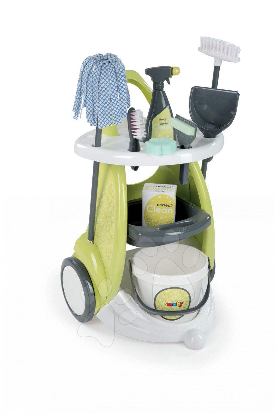Hry na domácnosť - Upratovací vozík Clean Service Smoby s 9 doplnkami zelený