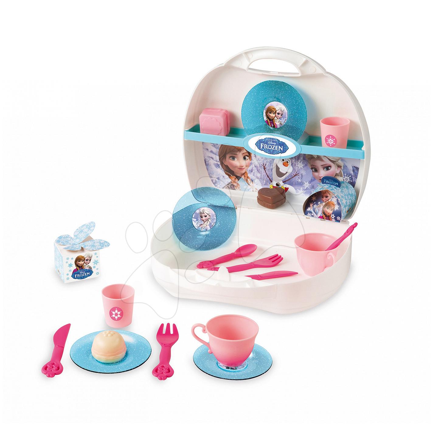 Riadíky a doplnky kuchynky - Cukráreň Frozen Smoby v kufríku s trblietkami s 19 doplnkami