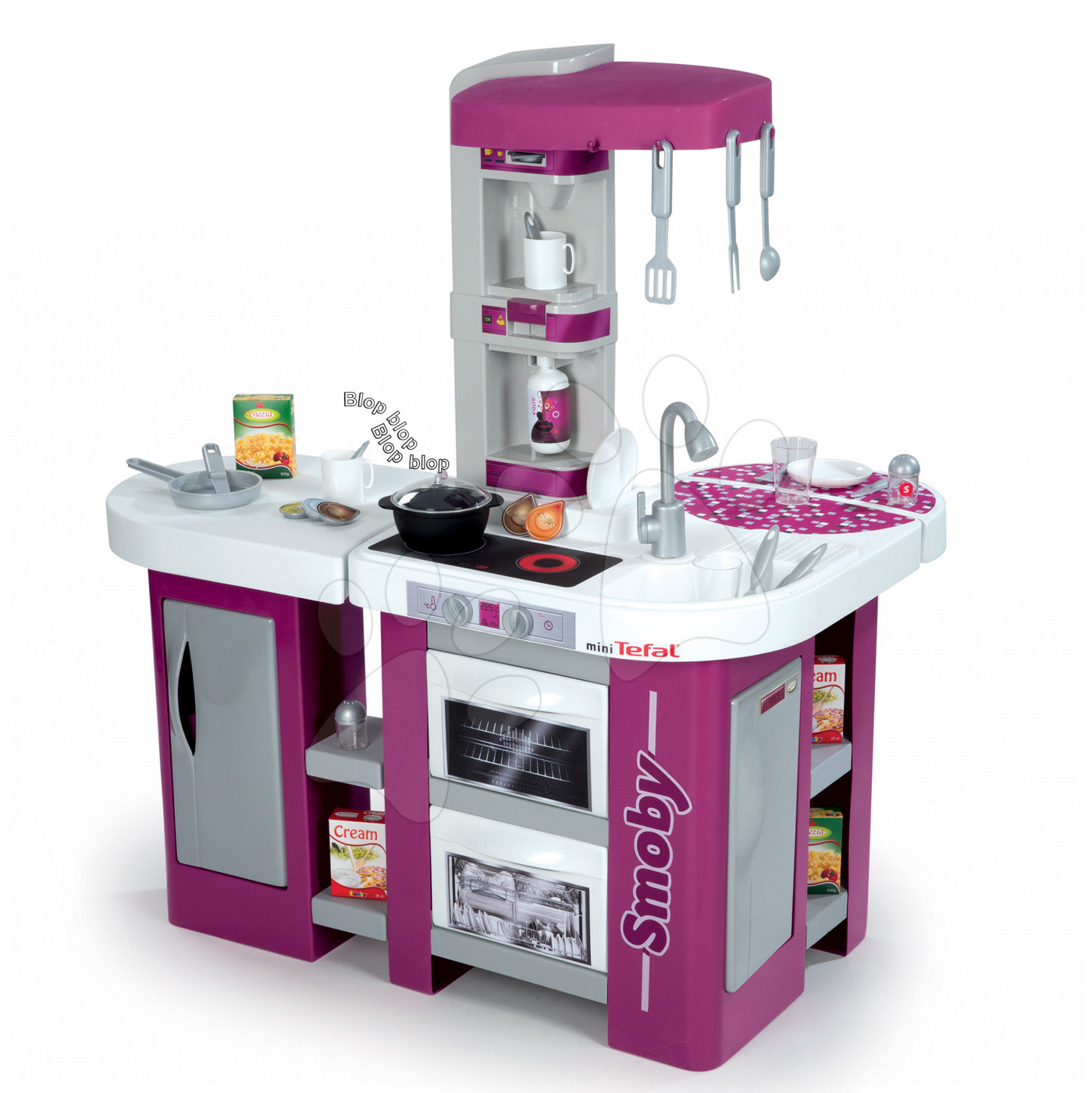 Elektronické kuchynky - Kuchynka Studio XL Tefal Smoby elektronická so zvukmi, so sódovačom, chladničkou a 32 doplnkami fialová