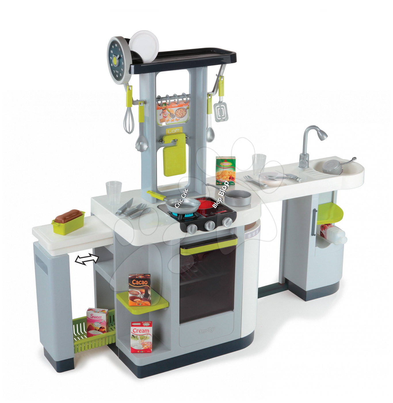Kuchynka Loft 4v1 Smoby elektronická so zvukmi, s vysúvacou pracovnou plochou a 25 doplnkami strieborná