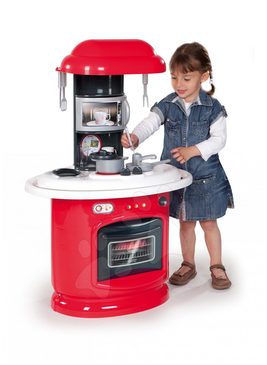 Obyčejné kuchyňky - Kuchyňka Berchet My Kitchen Smoby oboustranná s 21 doplňky červeno-bílá