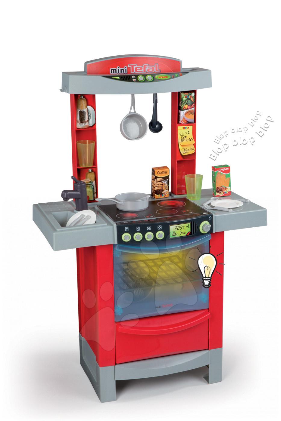 Elektronické kuchyňky - Kuchyňka Tefal Cook'Tronic Smoby elektronická se zvuky, světlem a 16 doplňky červená