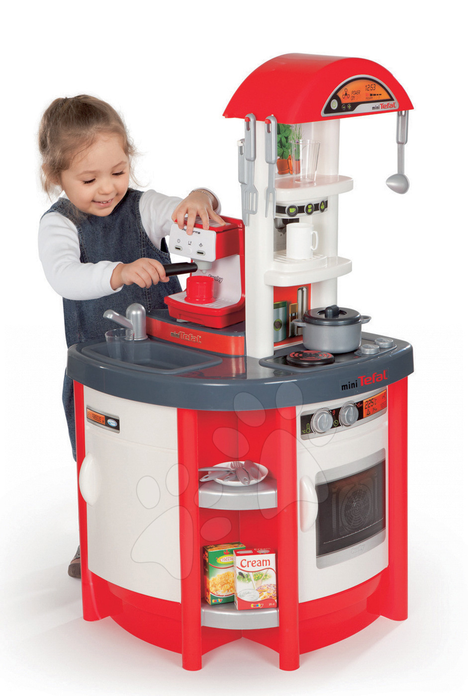 Kuchyňka Studio Tefal Smoby elektronická se zvuky, a kávovarem Espresso Rowenta a 19 doplňky červená