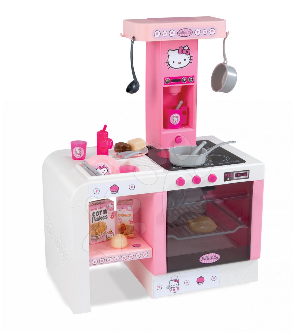 Elektronické kuchyňky - Kuchyňka Hello Kitty Cheftronic Smoby elektronická se zvuky a 20 doplňky