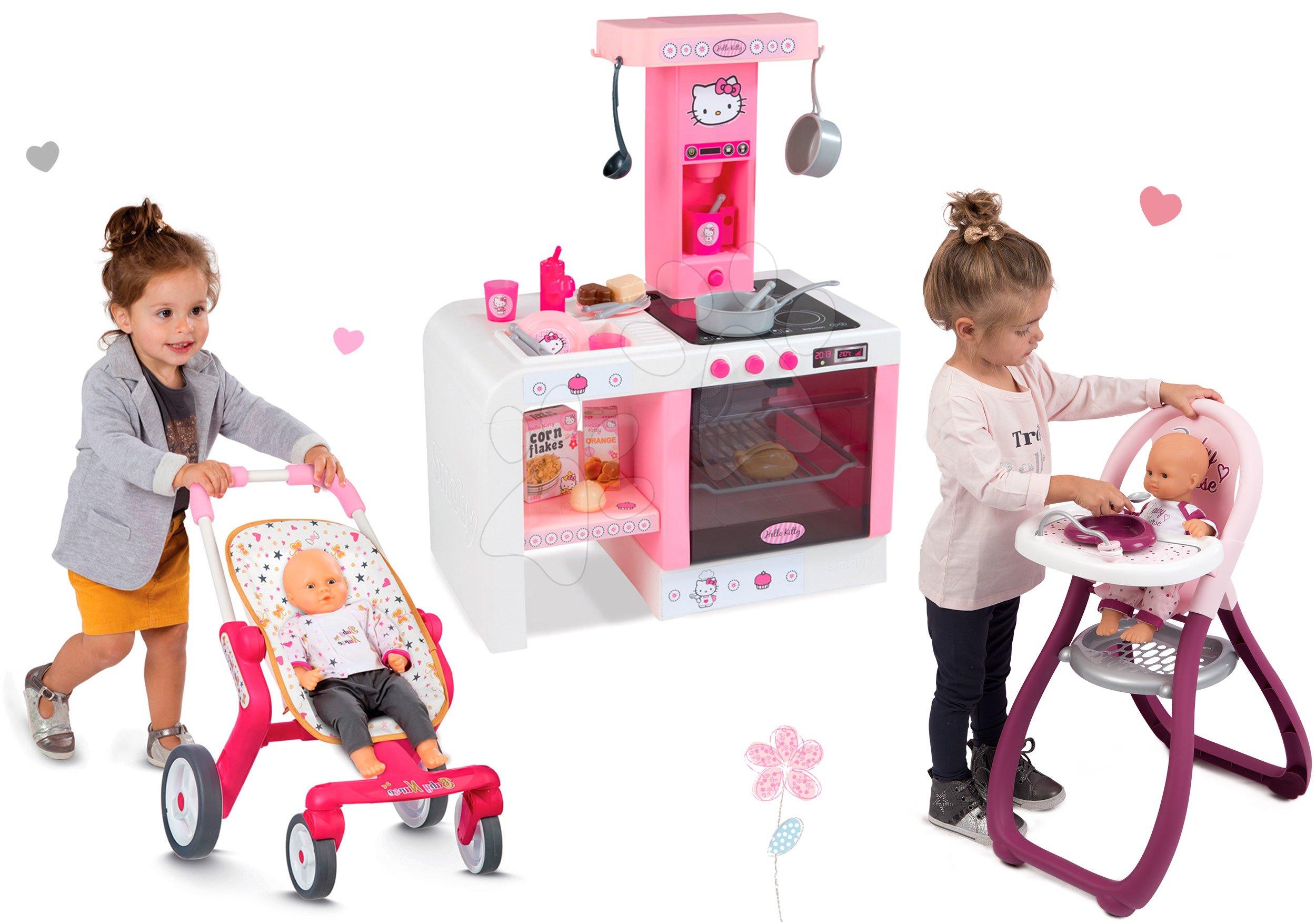 Smoby detská kuchynka Hello Kitty Cheftronic, kočiarik a stolička 24195-1