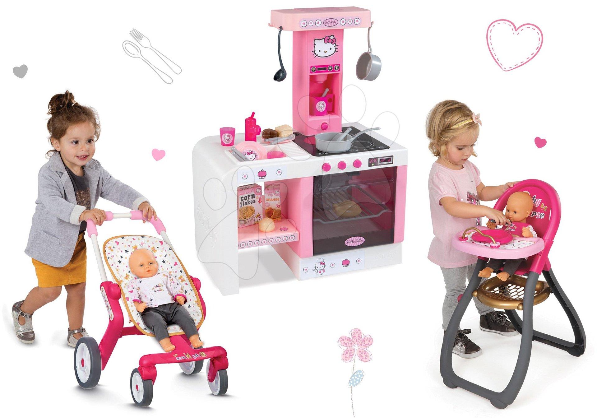 Set kuchynka Hello Kitty Cheftronic Smoby so zvukmi, kočík bugina (53,5 cm rúčka) a jedálenská stolička pre bábiku