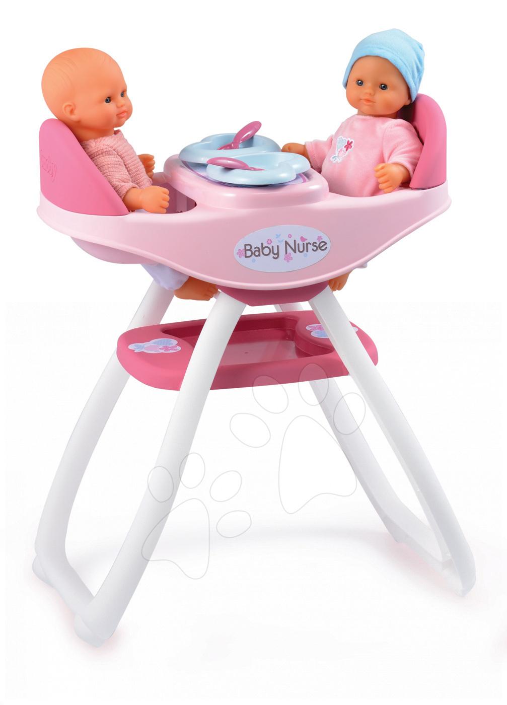 Jídelní židle Baby Nurse Smoby pro 42 cm panenky dvojčata se 4 doplňky od 24 měsíců