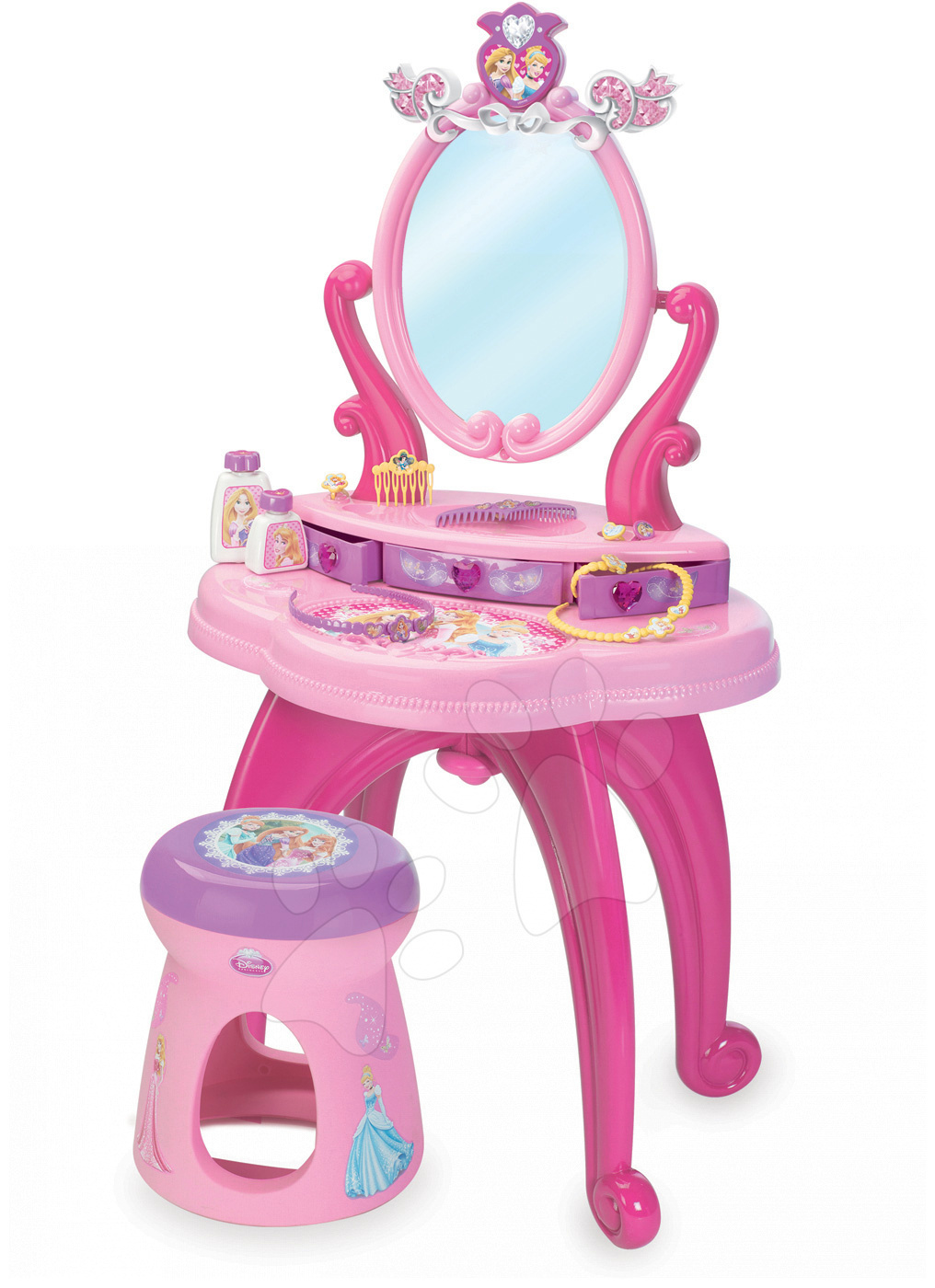 Kozmetický stolík pre deti - Kozmetický stolík Disney Princezné 2v1 Smoby so stoličkou a 10 doplnkami