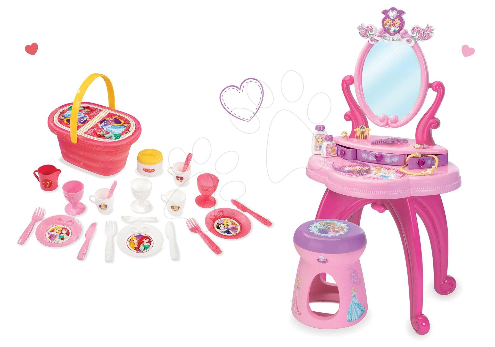 Kozmetické stolíky sety - Set kozmetický stolík Disney Princezné 2v1 Smoby so stoličkou a piknikový košík s doplnkami