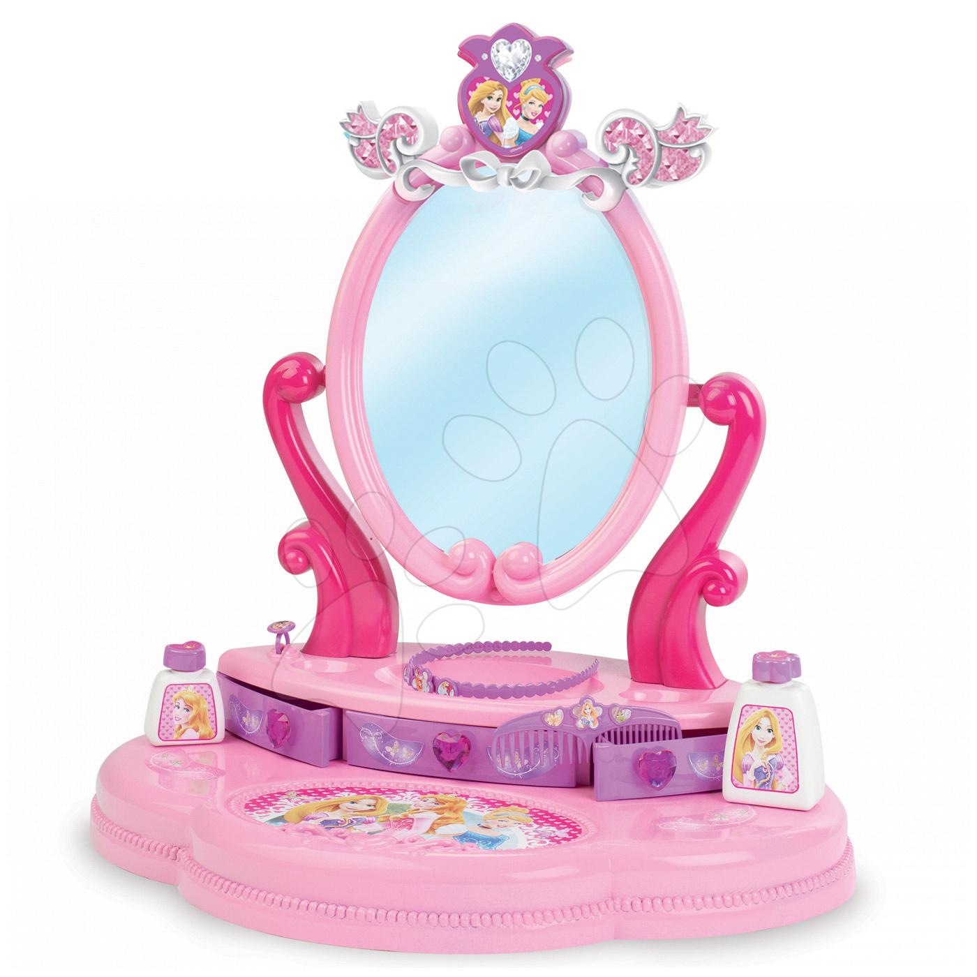 Kozmetický stolík pre deti - Kozmetický stolík Disney Princezné Smoby s otváracou zásuvkou a 5 doplnkami