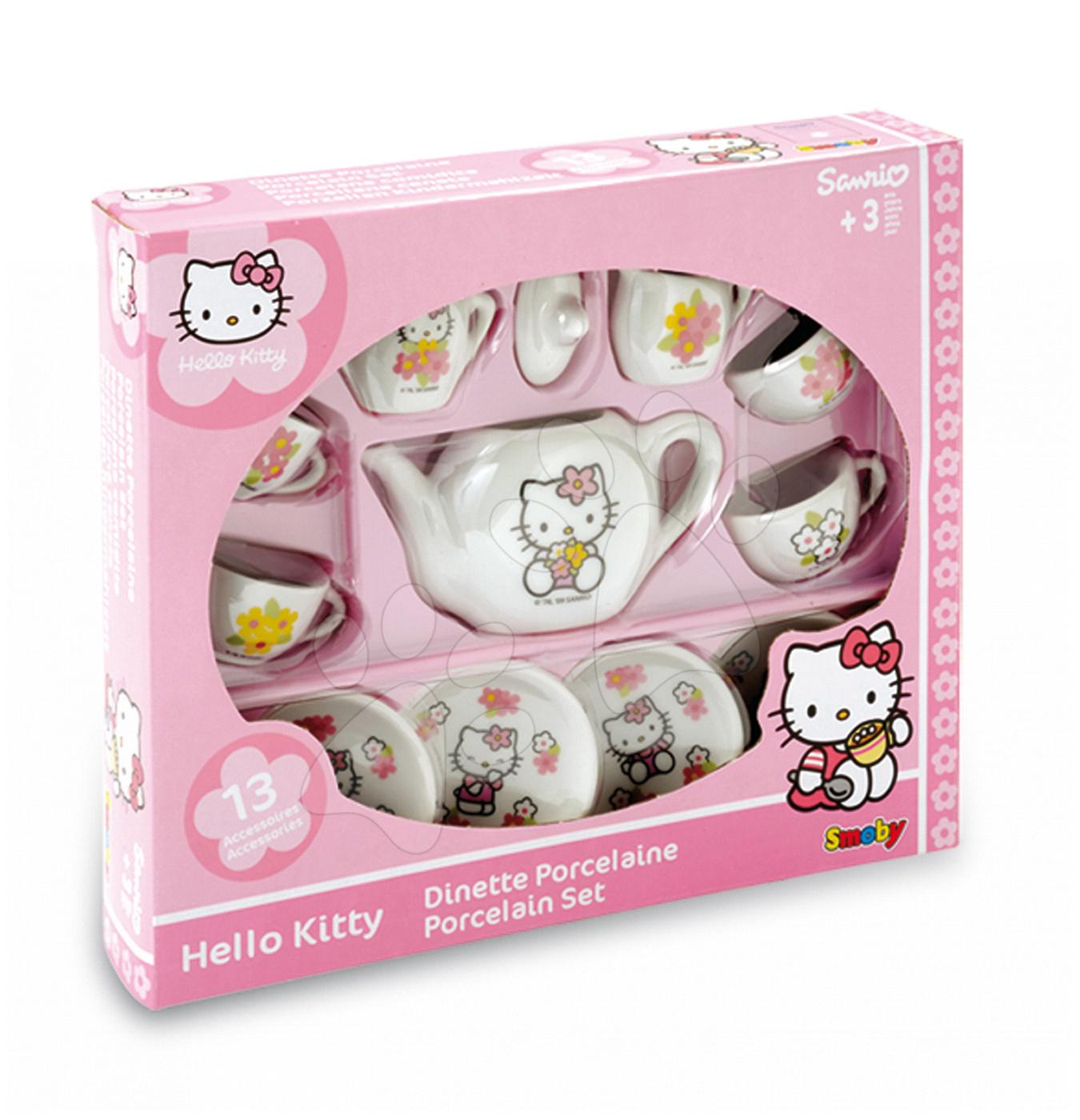 Posodice in dodatki za kuhinje - Čajni servis Hello Kitty Smoby porcelan s 13 dodatki