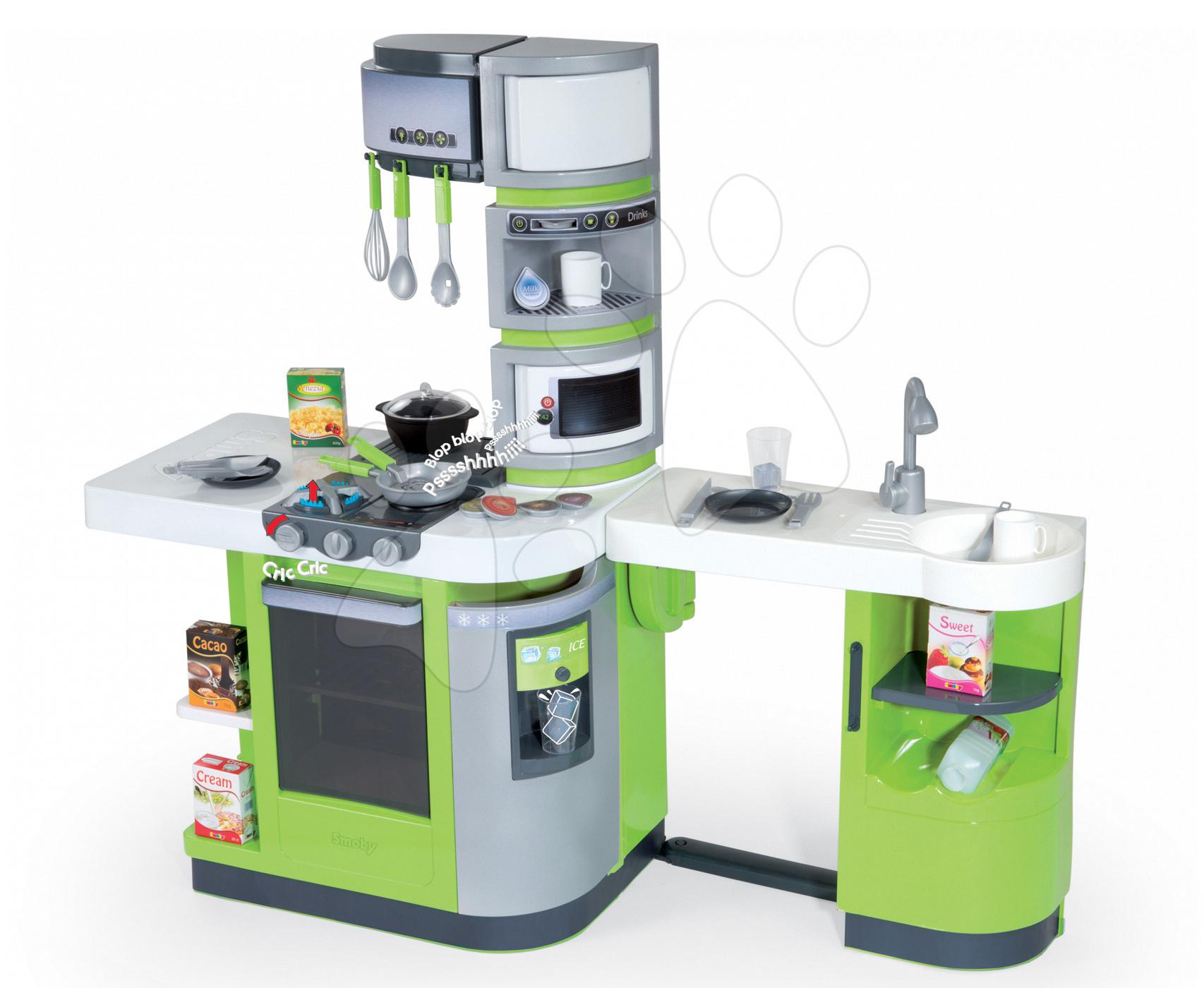 Kuchynka CookMaster Verte Smoby elektronická so zvukmi a 33 doplnkami zeleno-šedá