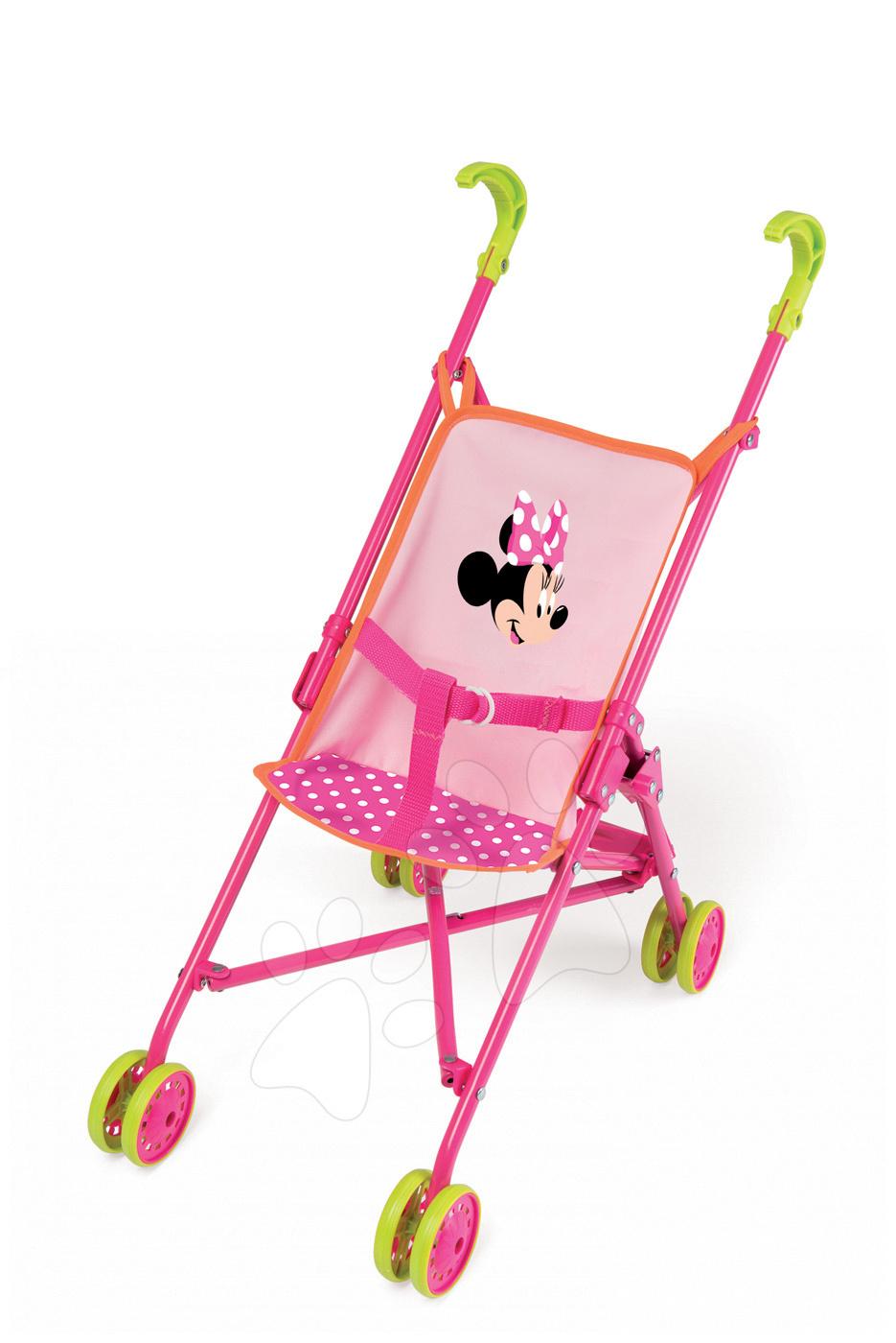 Kočíky od 18 mesiacov - Kočík pre bábiku Minnie Smoby skladacia bugina (58 cm rúčka) od 18 mes