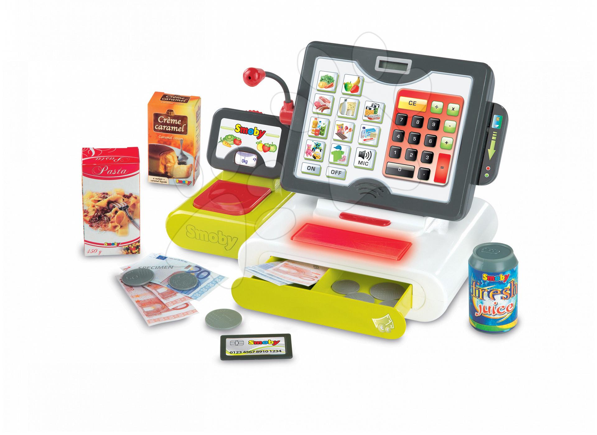 Obchody pre deti - Pokladňa Smoby elektronická s dotykovou obrazovkou s 25 doplnkami
