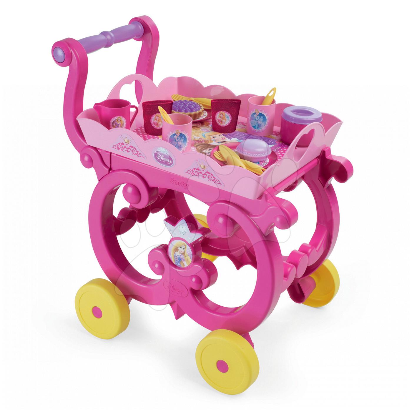 Riadíky a doplnky kuchynky - Čajová súprava Princezné Smoby na servírovacom vozíku s 17 doplnkami