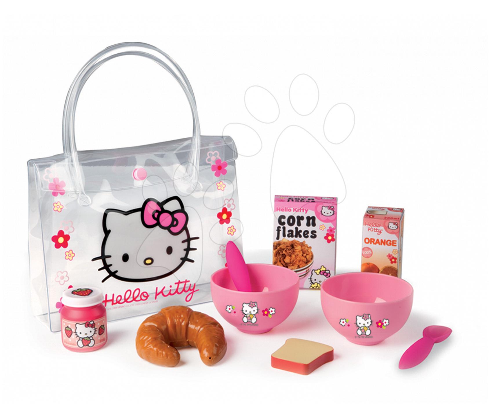 Nádobí a doplňky do kuchyňky - Snídaňový set Hello Kitty Smoby v taštičce s 9 doplňky