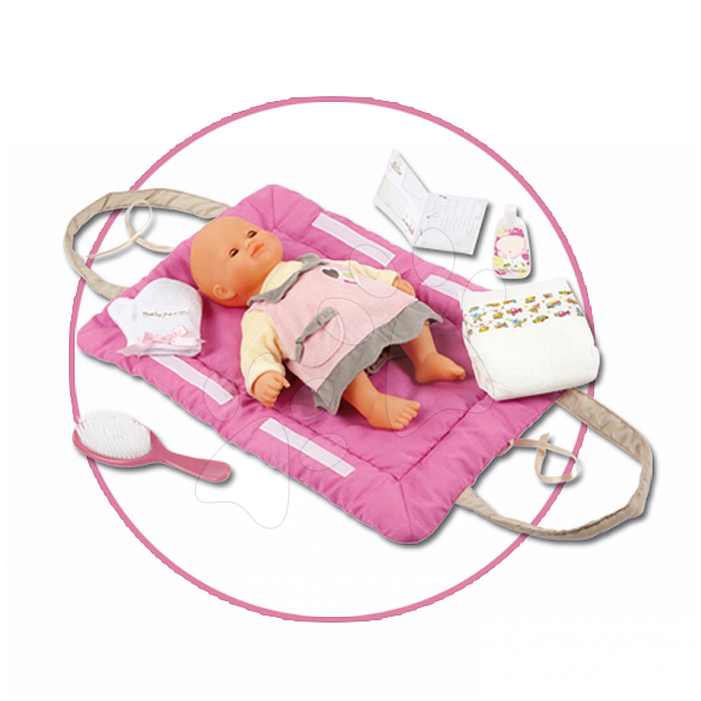 Pelenkázó alátét Baby Nurse Smoby 42 cm játékbabának pelenkázó szettel sötét rózsaszín