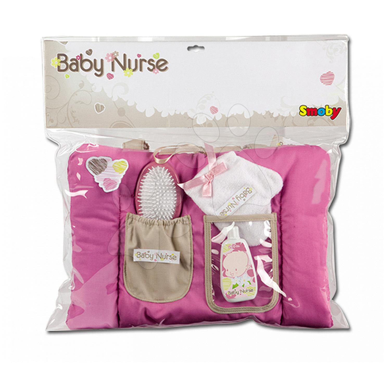 Doplňky pro panenky - Přebalovací podložka Baby Nurse Smoby pro 42 cm panenku se setem na přebalování tmavorůžová