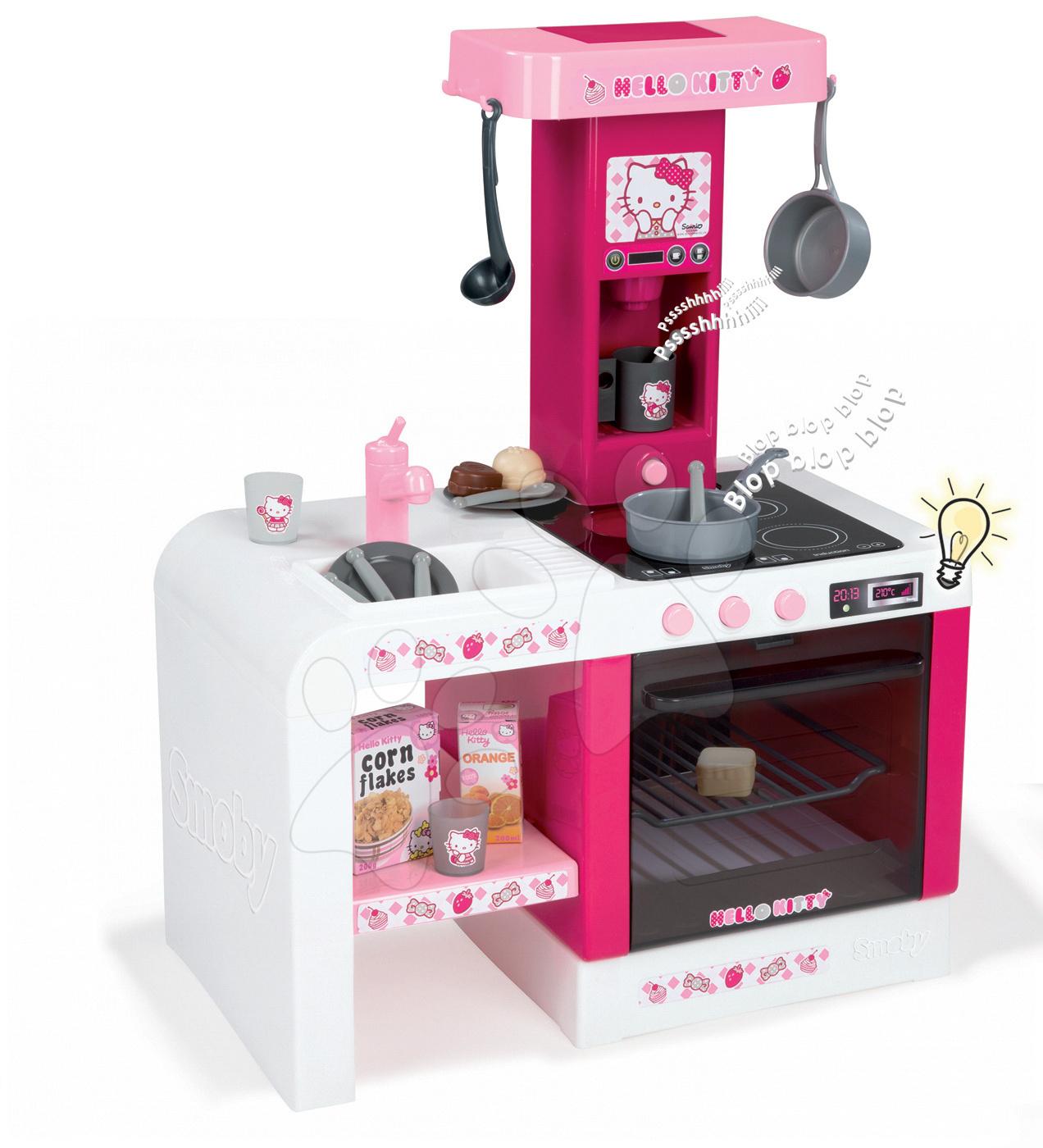 Elektronické kuchynky - Kuchynka Hello Kitty Cheftronic Smoby elektronická so zvukom, svetlom a 19 doplnkami tmavoružová