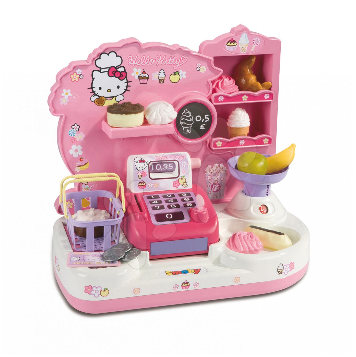 Obchůdek Hello Kitty Smoby s pokladnou se 16 doplňky