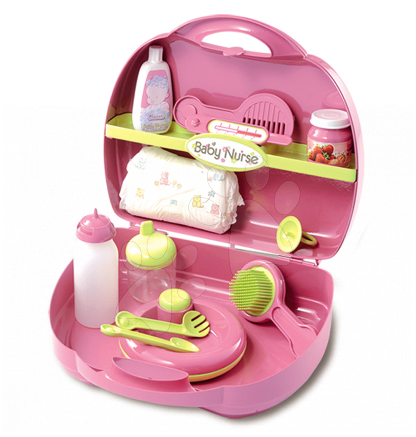 Szett pelenkázó játékbabának Baby Nurse Smoby bőröndben rózsaszín