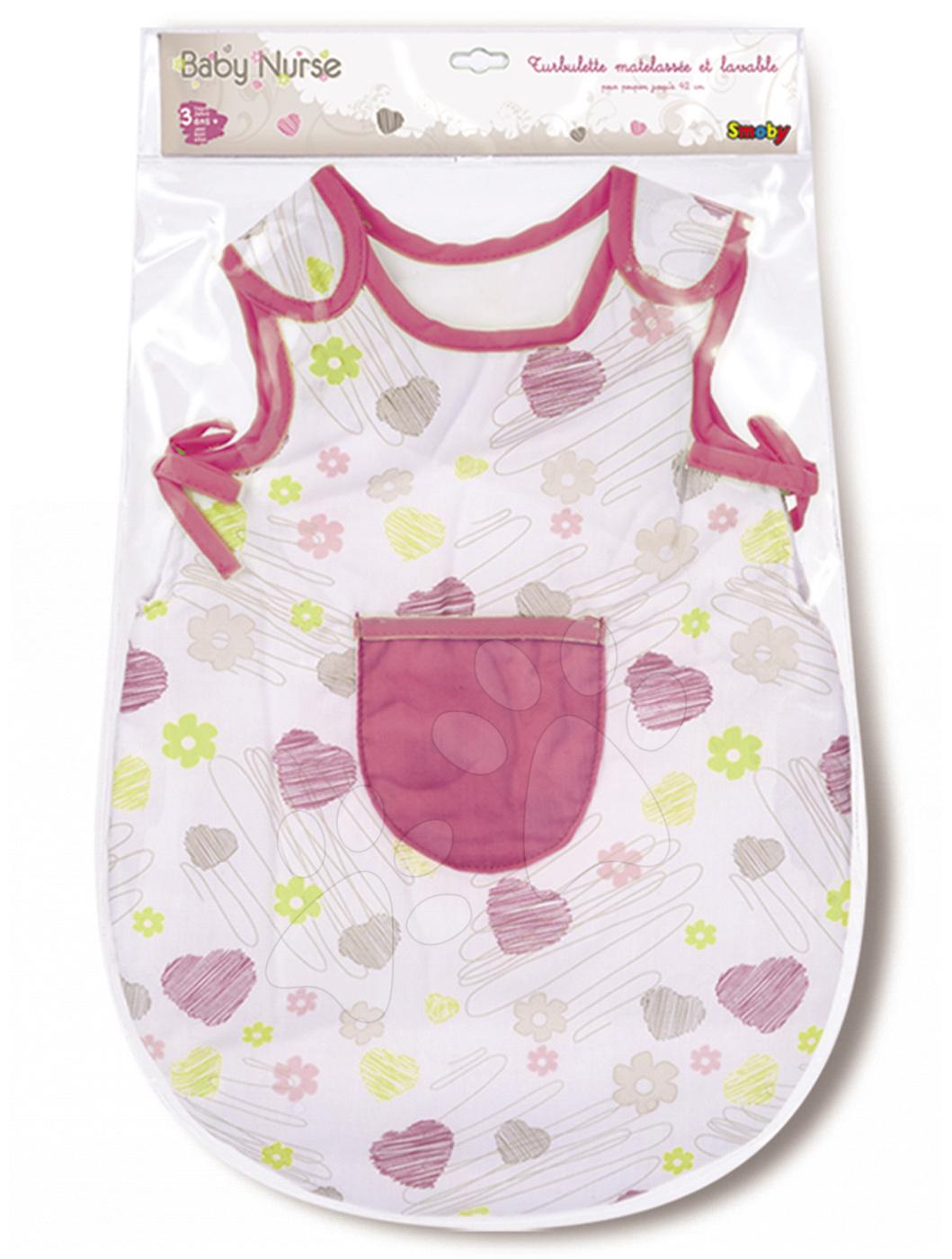 Noční úbor pro panenku 42 cm Baby Nurse Smoby bílo-růžový se srdíčky