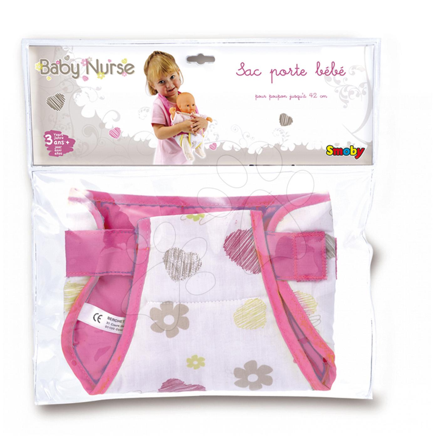 Doplnky pre bábiky - Nosidlo pre bábiku do 42 cm Baby Nurse Smoby klokanka tmavoružové