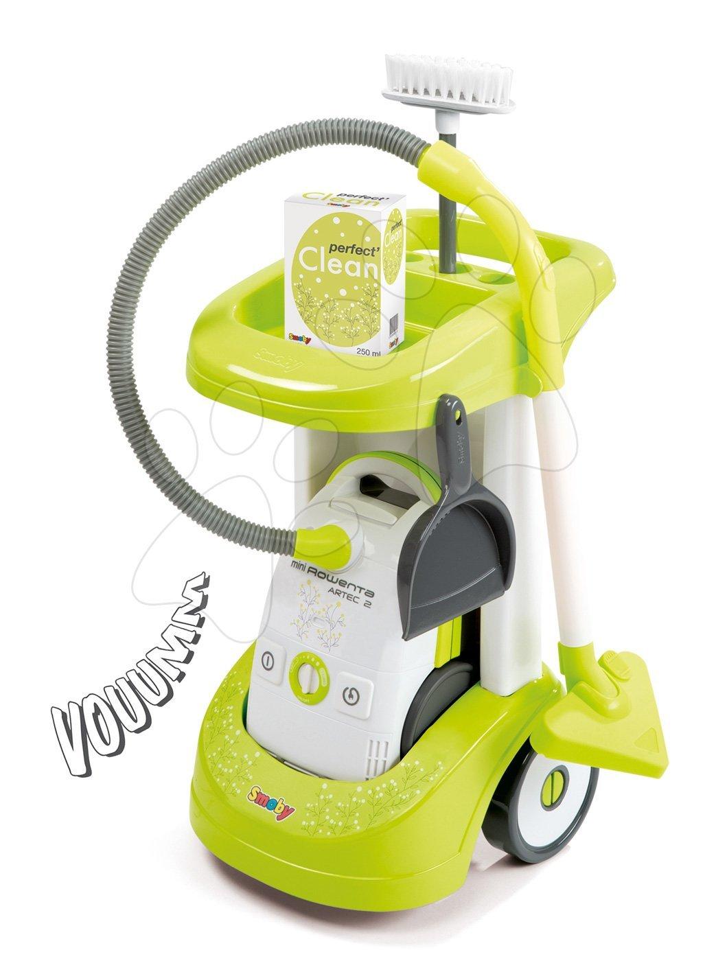 Hry na domácnosť - Upratovací vozík Smoby Rowenta s elektronickým vysávačom a 3 doplnkami zelený