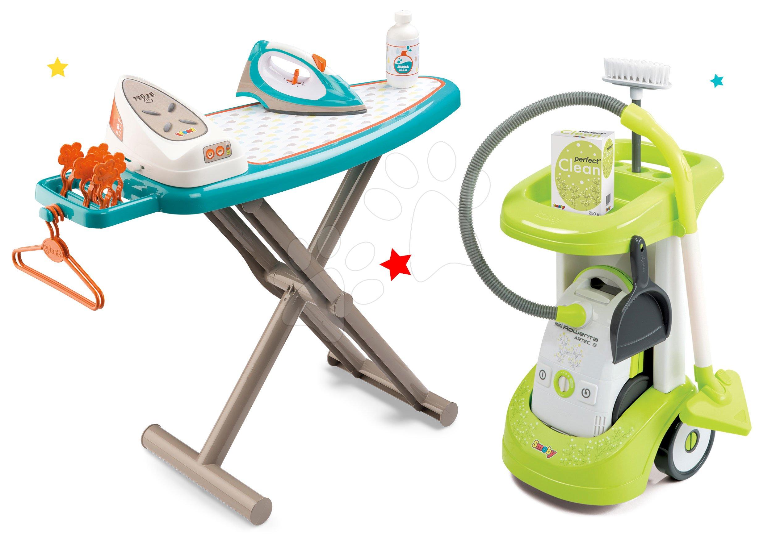 Set úklidový vozík Rowenta Smoby s elektronickým vysavačem, žehlicí prkno, elektronická žehlička Clean