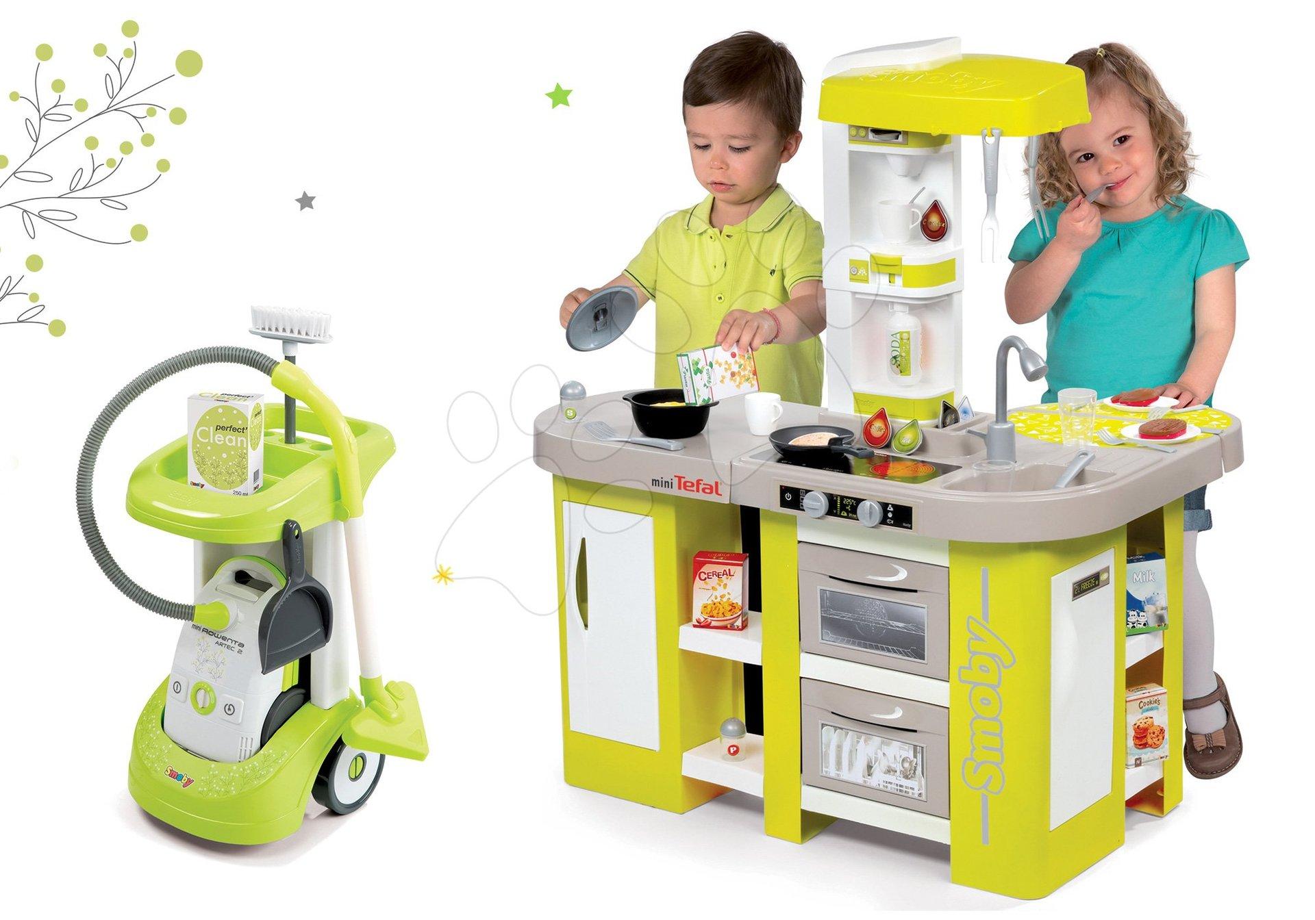 Set úklidový vozík Smoby a elektronický vysavač Rowenta, kuchyňka Tefal se zvuky