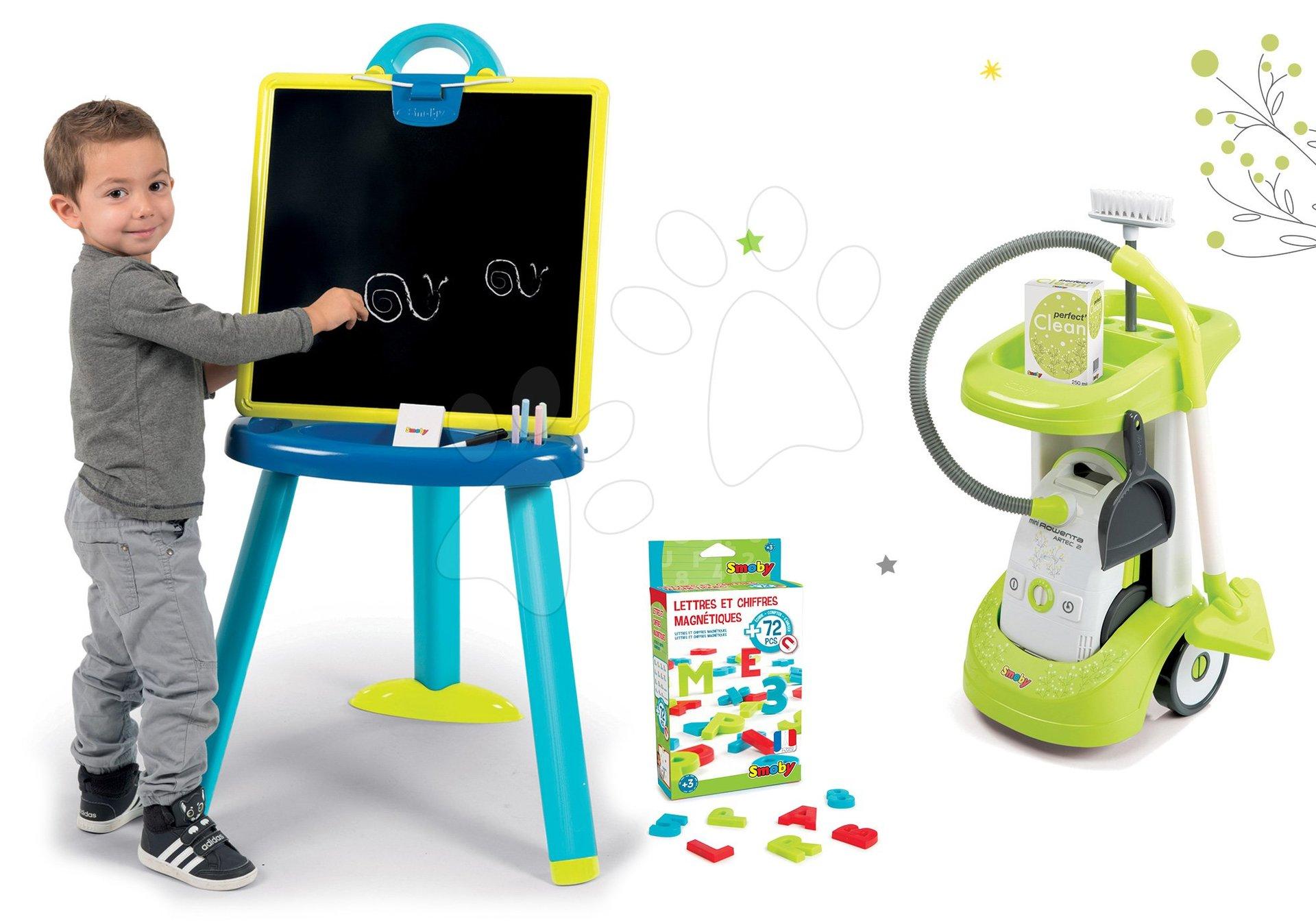 Smoby set upratovací vozík s elektronickým vysávačom Rowenta a tabuľa na kreslenie s magnetkami 24406-3