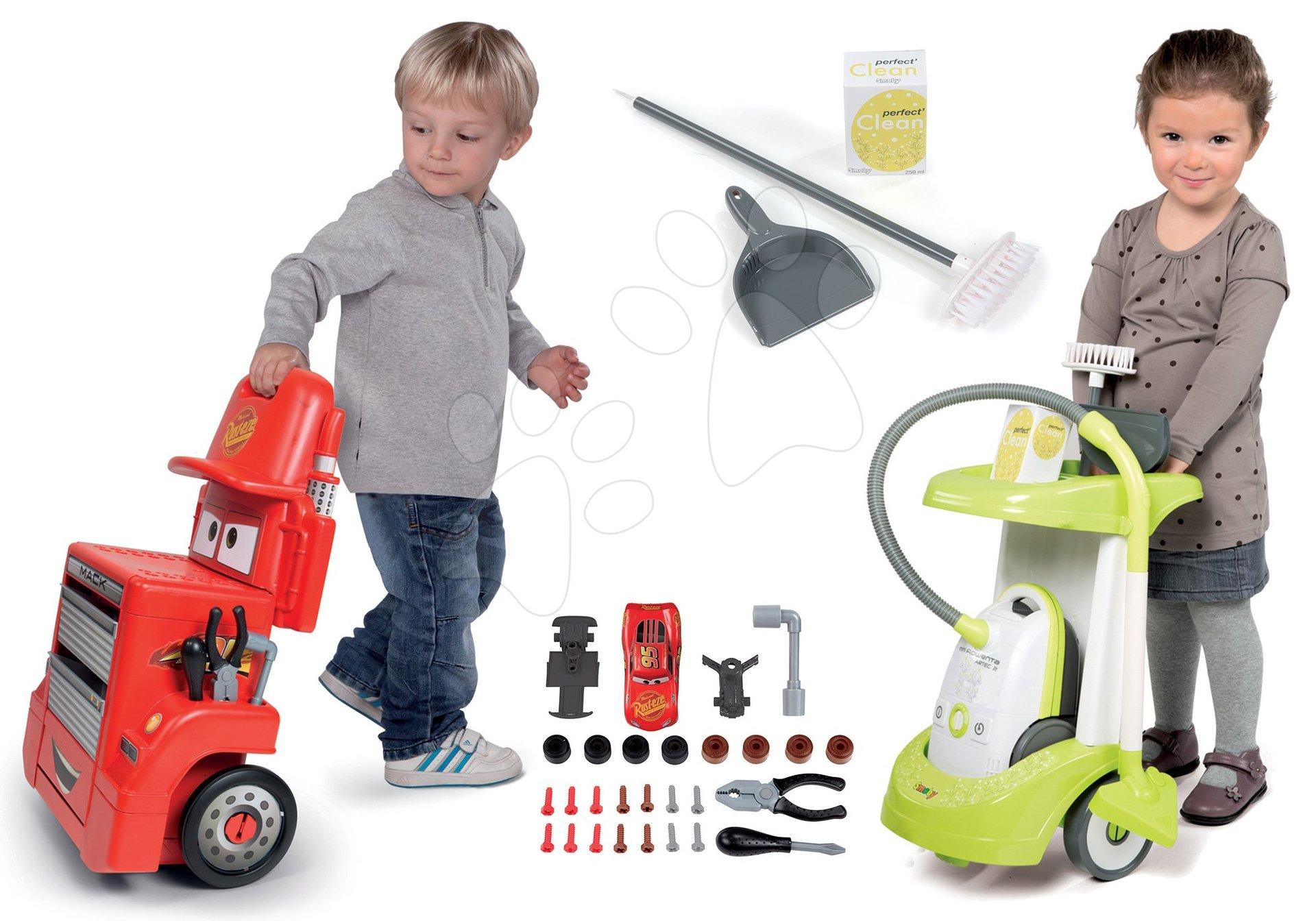 Hry na domácnosť - Set upratovací vozík Smoby s elektronickým vysávačom Rowenta a pracovný stolík Cars