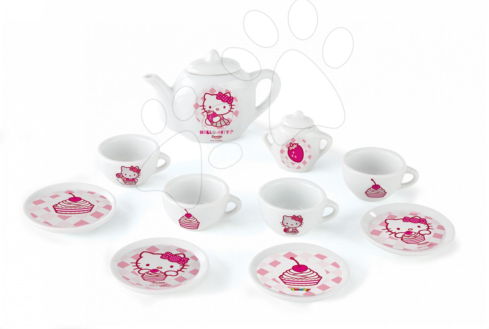 Riadíky a doplnky kuchynky - Čajová súprava Hello Kitty Smoby porcelánová s 12 doplnkami