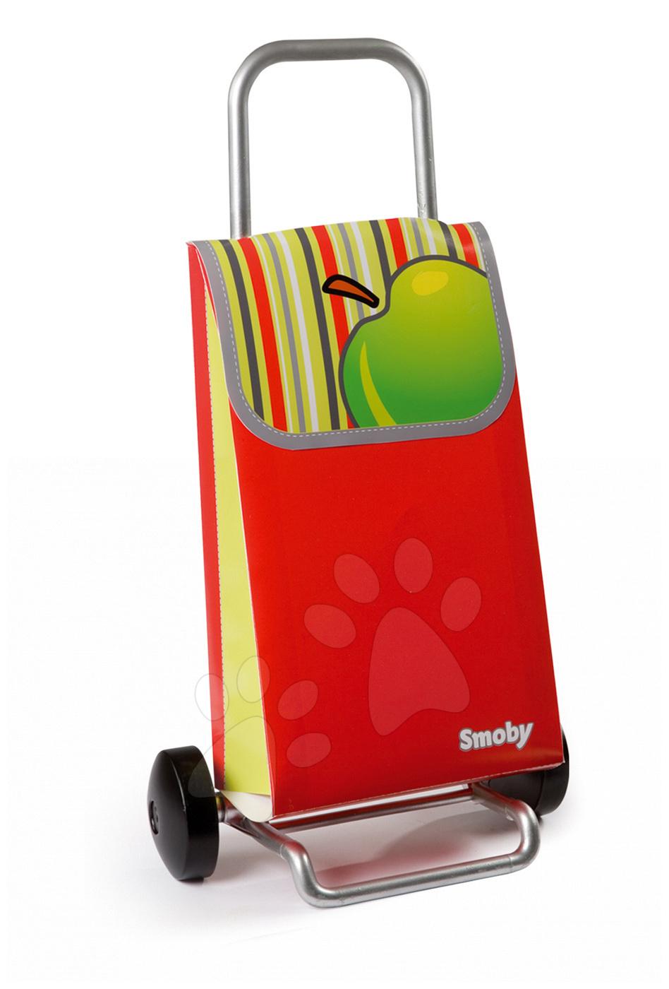 Obchody pro děti - Nákupní taška Smoby na kolečkách s jablečným vzorem