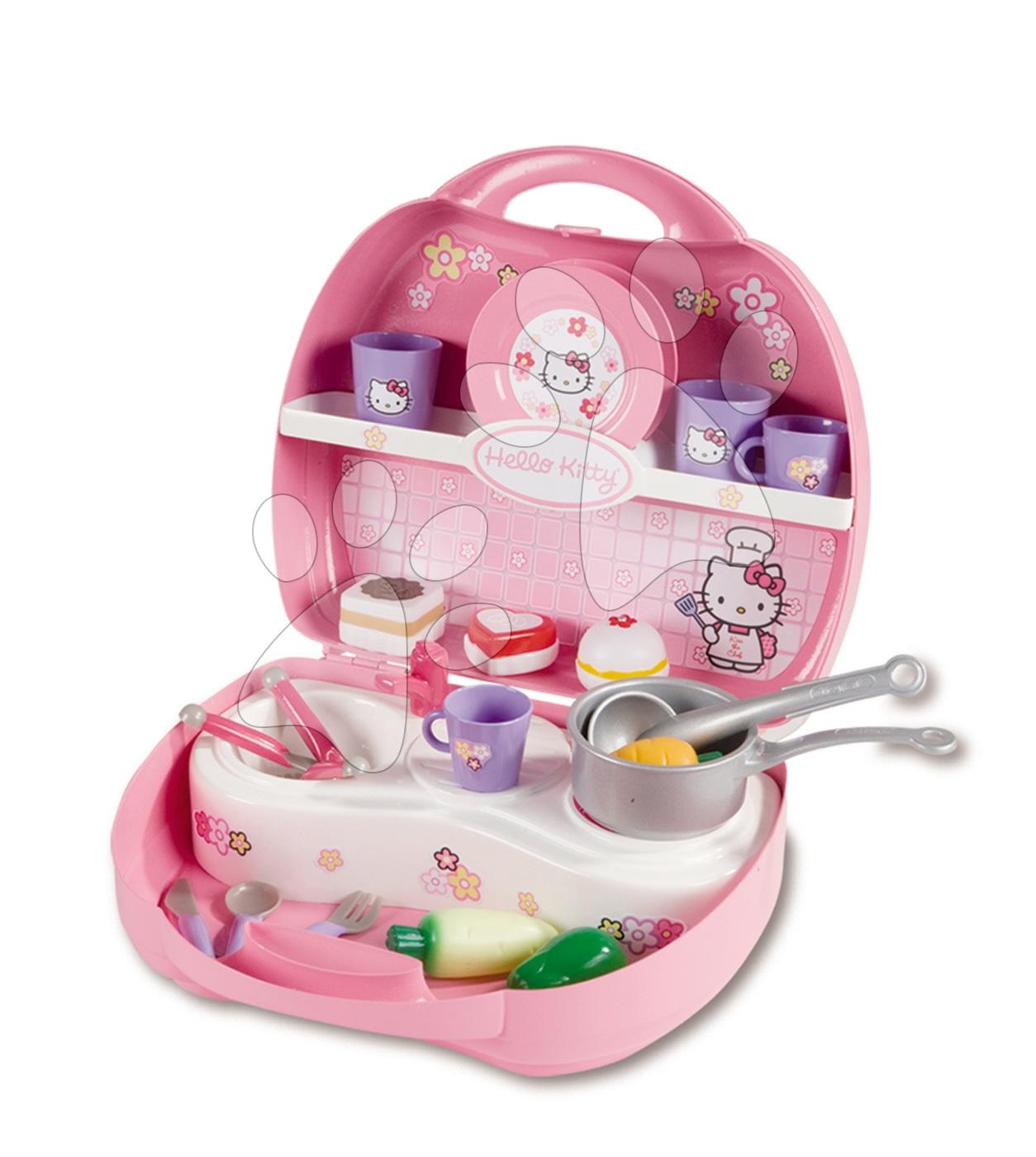 Egyszerű játékkonyhák - Játékkonyha Hello Kitty Mini Cuisine Smoby kofferban 20 kiegészítővel világos rózsaszín