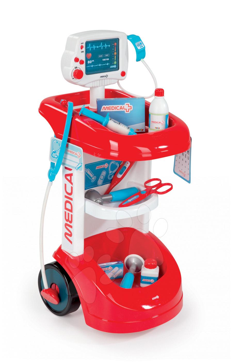 Smoby lekársky vozík pre deti 24475 červeno-biely