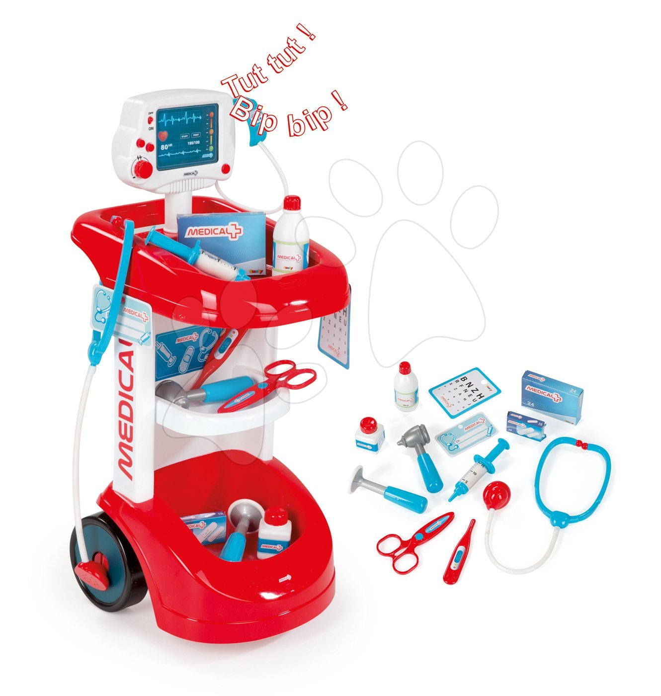 Lékařský vozík Smoby se zvukem a tlakoměrem a 12 doplňky