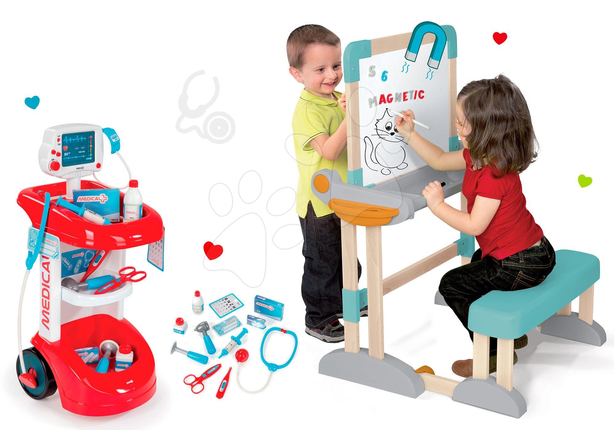 Smoby set lékařský vozík s tlakoměrem a dřevěná školní lavice s tabulí 24475-5
