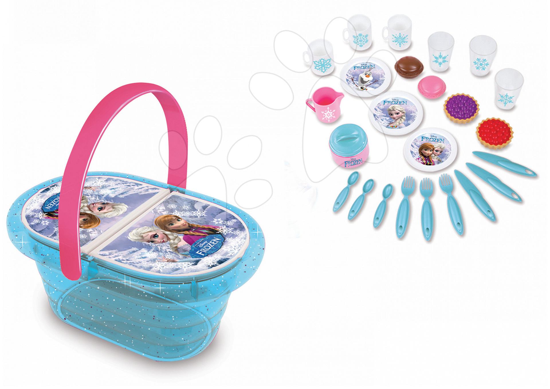 Riadíky a doplnky kuchynky - Piknikový košík Frozen Smoby s trblietkami s 24 doplnkami
