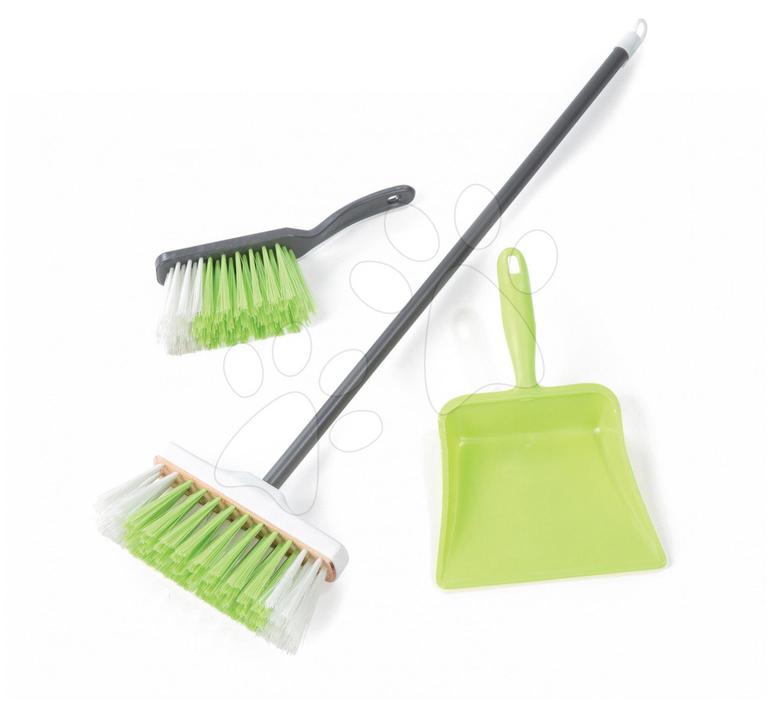 Hry na domácnosť - Sada na upratovanie 3v1 Smoby s metlou a lopatkou zelená