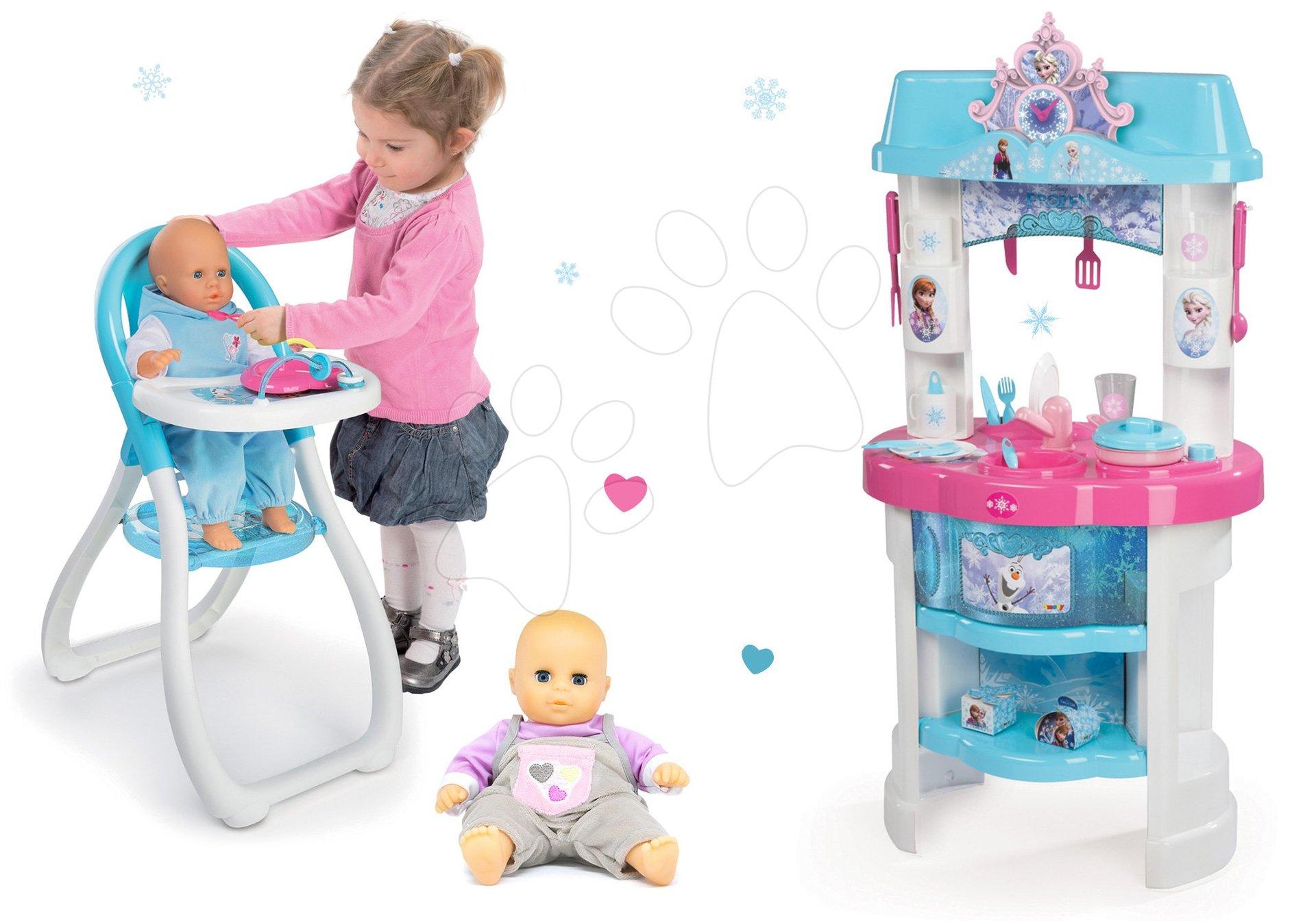 Set kuchynka Frozen Smoby s trblietkami, jedálenská stolička s bábikou a šedá bábika