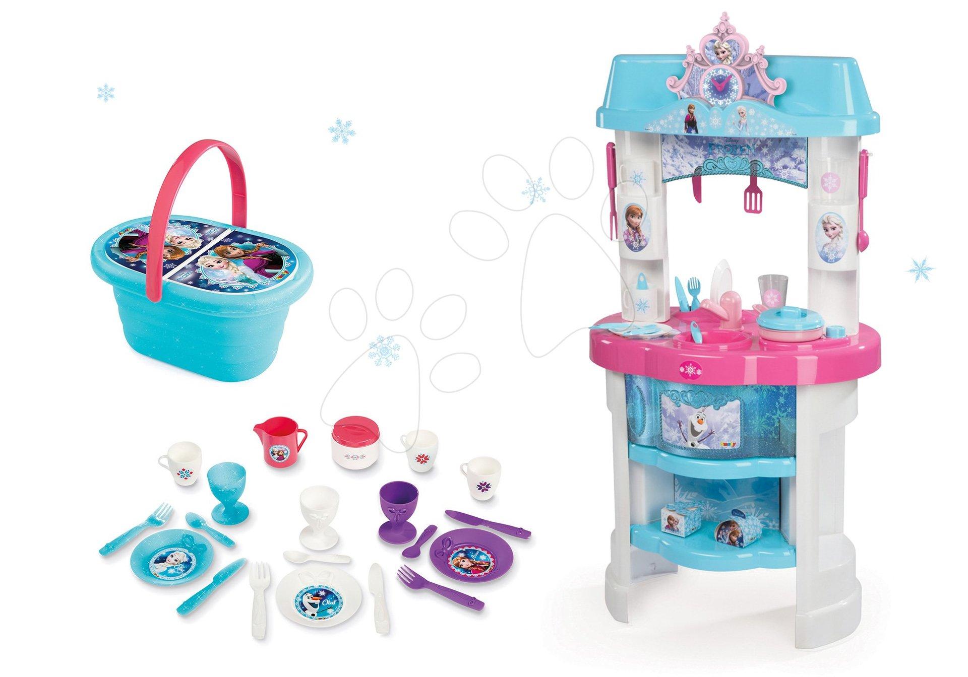 Set kuchynka Frozen Smoby s trblietkami a piknikový košík s riadom