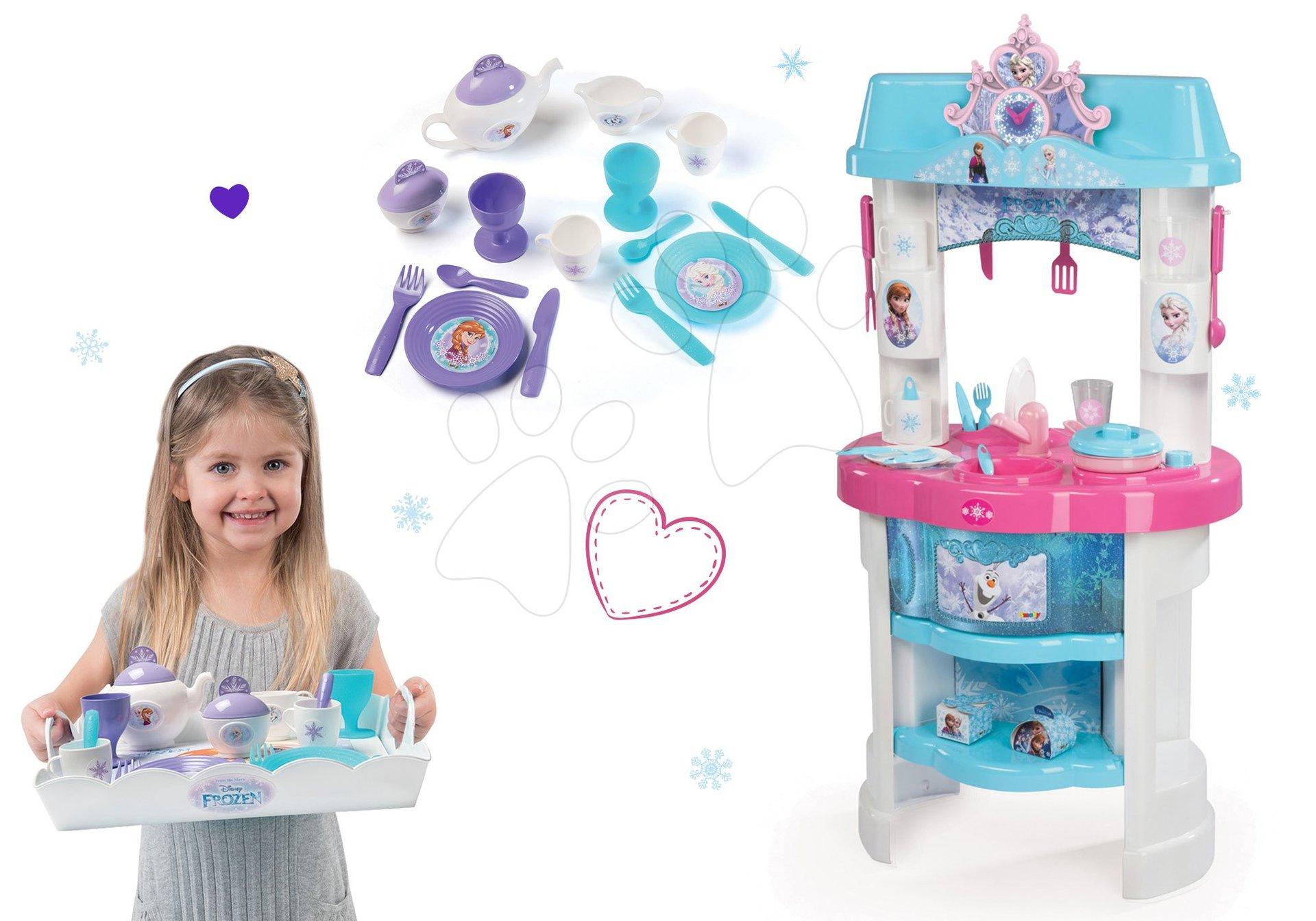 Kuchynky pre deti sety - Set kuchynka Frozen Smoby s trblietkami a čajová súprava Frozen na tácke
